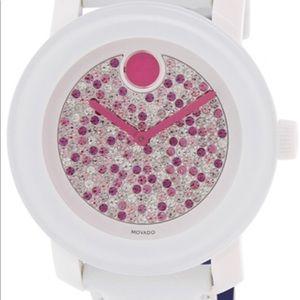 Movado Bold Multicolor Diamond Dial White Leather